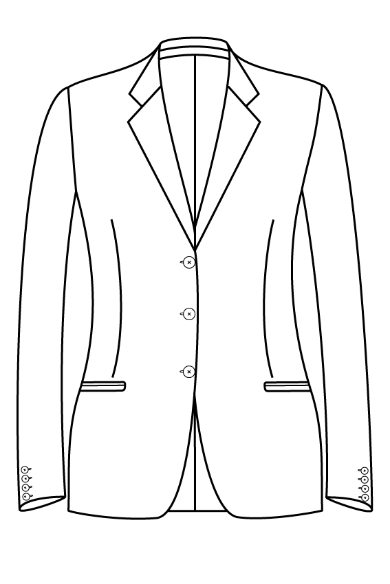 3 knoops notch lapel gepassepoileerd zakken dames jasje blazer colbert pak bespoke tailor made amsterdam.png