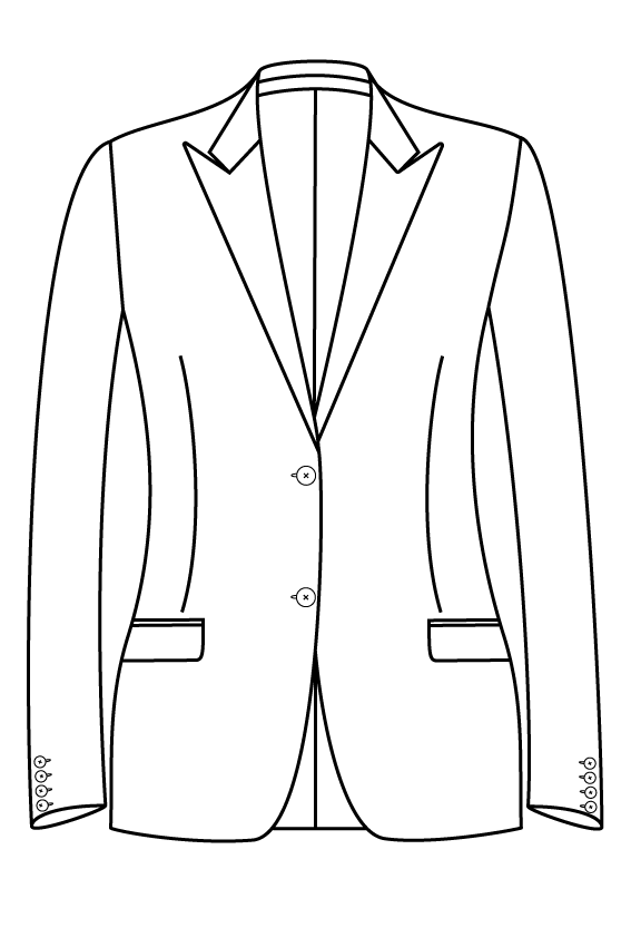 2 knoops peak lapel rechte zakken dames jasje blazer colbert pak bespoke tailor made amsterdam.png