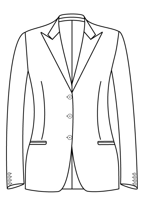 3 knoops peak lapel gepassepoileerd zakken dames jasje blazer colbert pak bespoke tailor made amsterdam.png