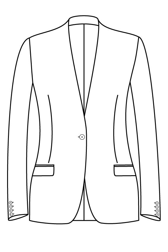 1 knoops kraagloos rechte zakken dames jasje colbert pak bespoke tailor made amsterdam.png