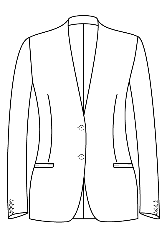 2 knoops kraagloos gepassepoileerde zakken dames jasje colbert pak bespoke tailor made amsterdam.png
