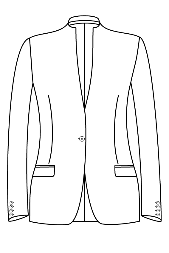 1 knoops opstaande kraag rechte zakken dames jasje blazer colbert pak bespoke tailor made amsterdam.png
