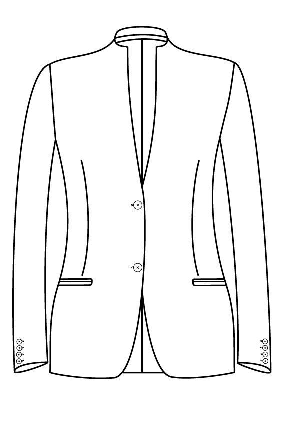 2 knoops opstaande kraag gepassepoileerde zakken dames jasje blazer colbert pak bespoke tailor made amsterdam.png