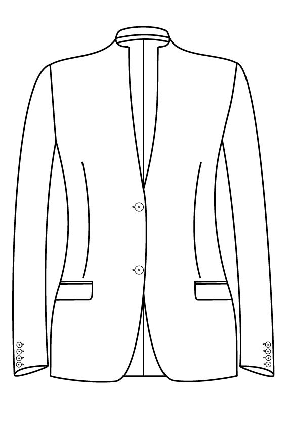 2 knoops opstaande kraag rechte zakken dames jasje blazer colbert pak bespoke tailor made amsterdam.png