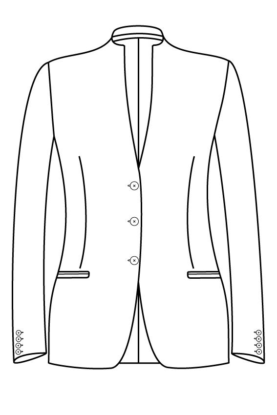 3 knoops opstaande kraag gepassepoileerde zakken dames jasje blazer colbert pak bespoke tailor made amsterdam.png