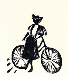 Wheel woman linocut was inspired by Annie Londonderry