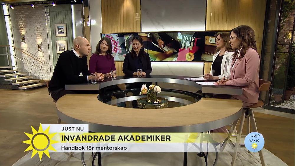 Inslag i TV 4 Nyhetsmorgon med anledning av mentorskapshandboken  Kliv in .