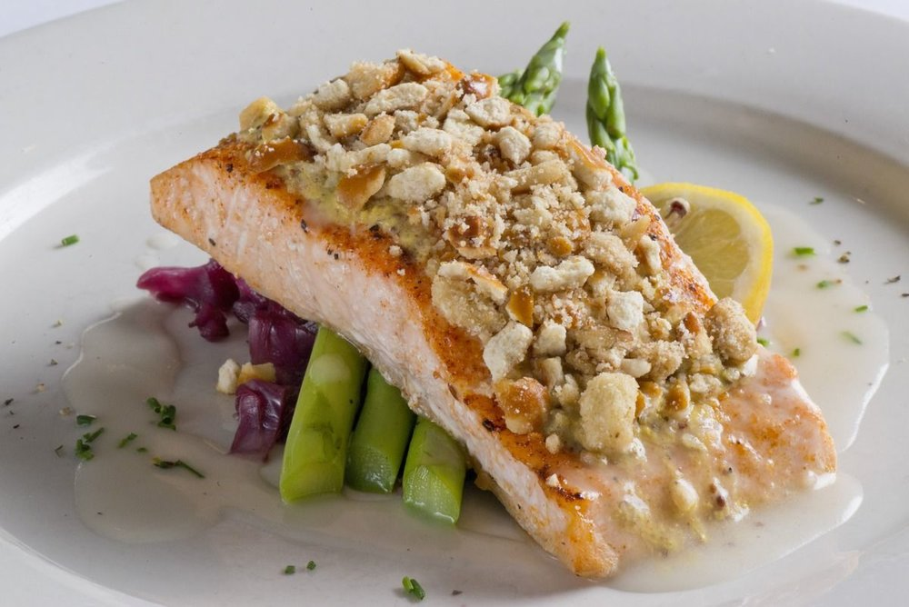 A photo of a fish entree.