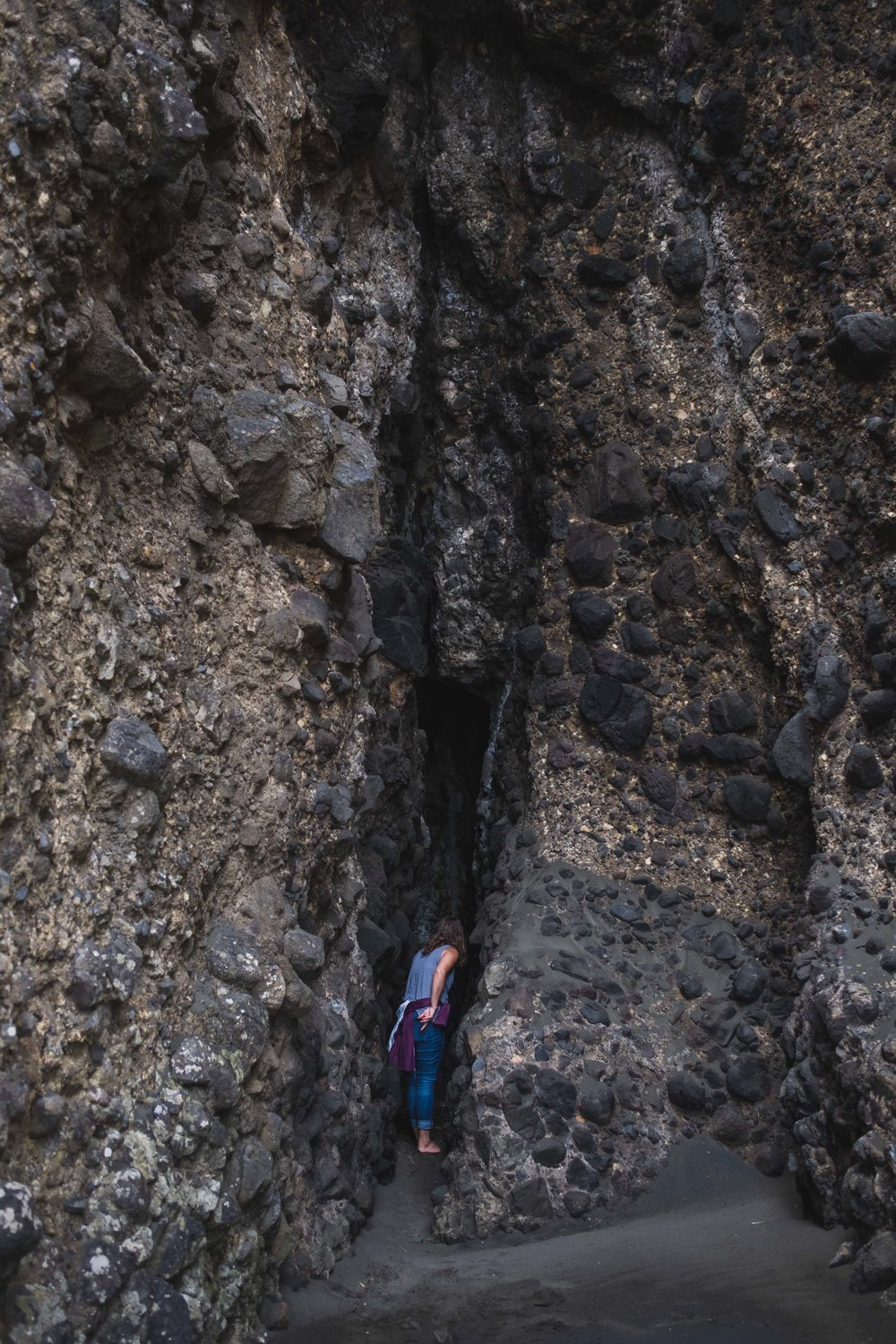 entering a weird crevice that opened up into a cave.