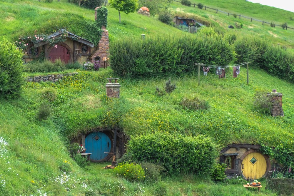 Beautiful hobbit holes, there were around 44 of them total!