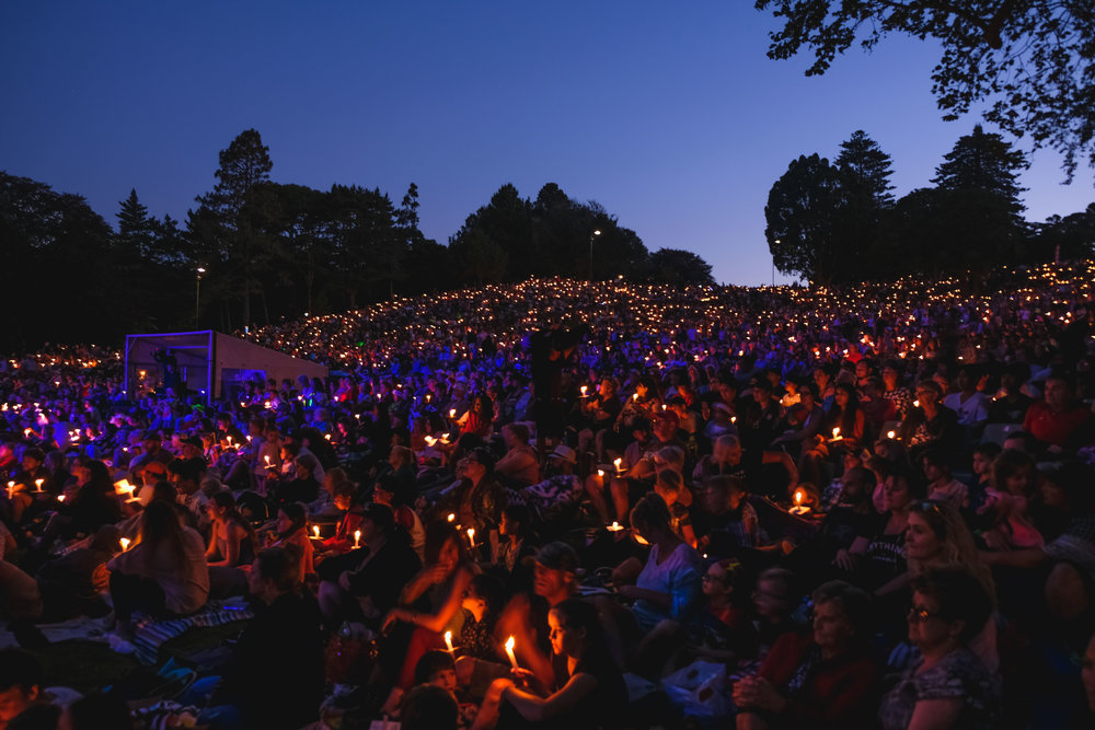 candle's lit at Christmas at the Bowl in New Plymouth