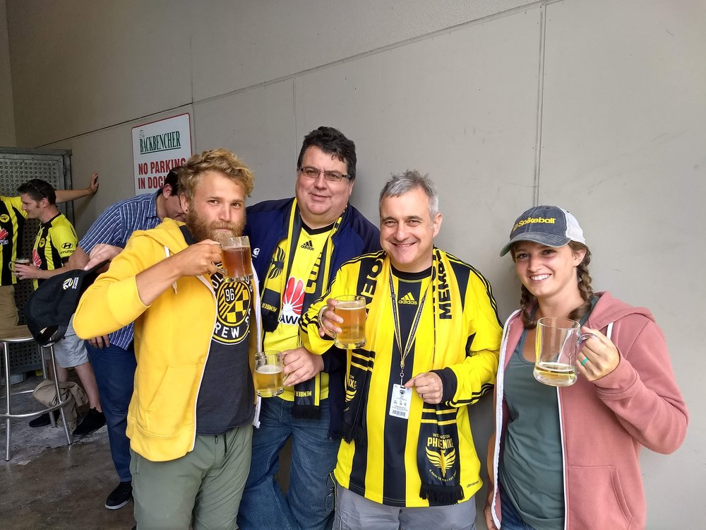 Some guys we met on the train to the Wellington Phoenix match!