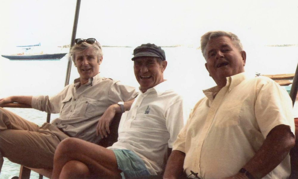 Peter Benchley, Adrian Hooper and Teddy Tucker many years after Benchley wrote Jaws.