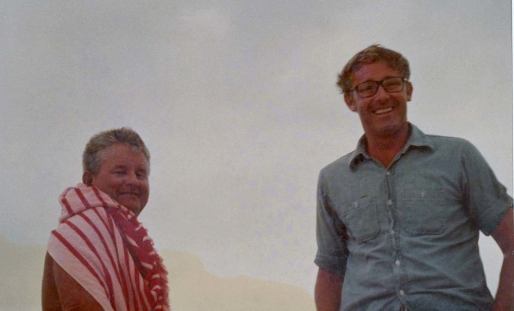 Teddy with Peter during filming of The Deep