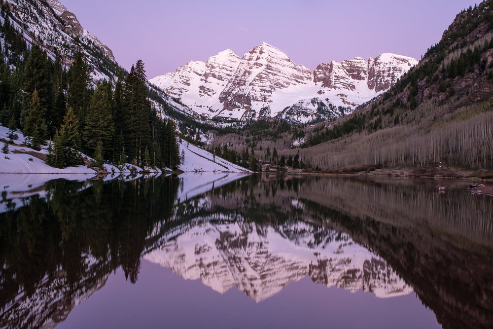 Pre-dawn alpenglow on the Maroon Bells, near Aspen, CO