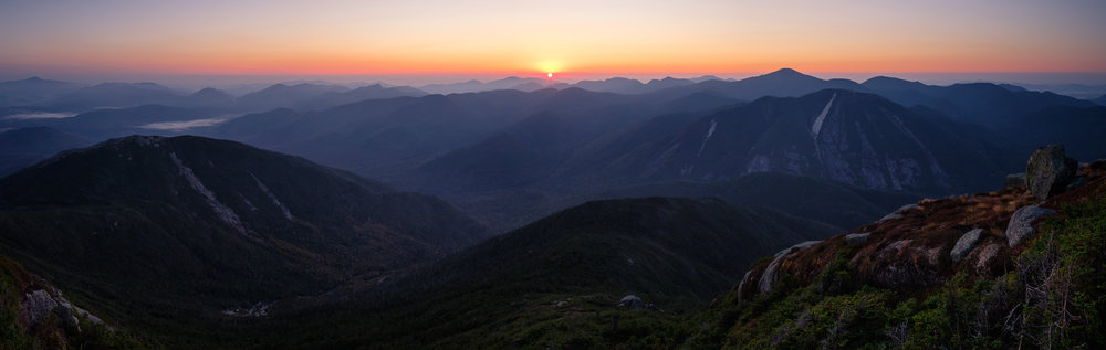 Sunsrise from Algonquin, looking out over Wright, Avalanche, Marcy, and Colden Peaks, Adirondack Park, NY.