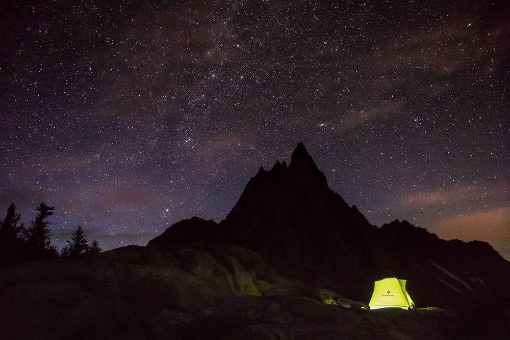Camping below a sky full of stars at Gnome Tarn, beneath Prusik Peak.