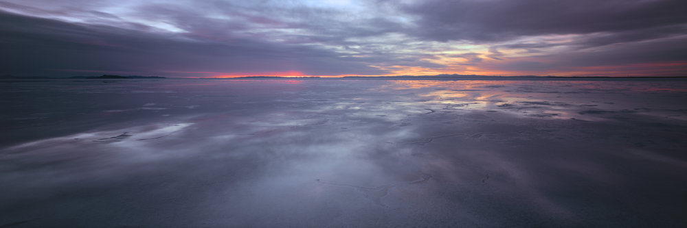 Bonneville salt flats at sunrise. Velvia 100, 2 sec, f/32.