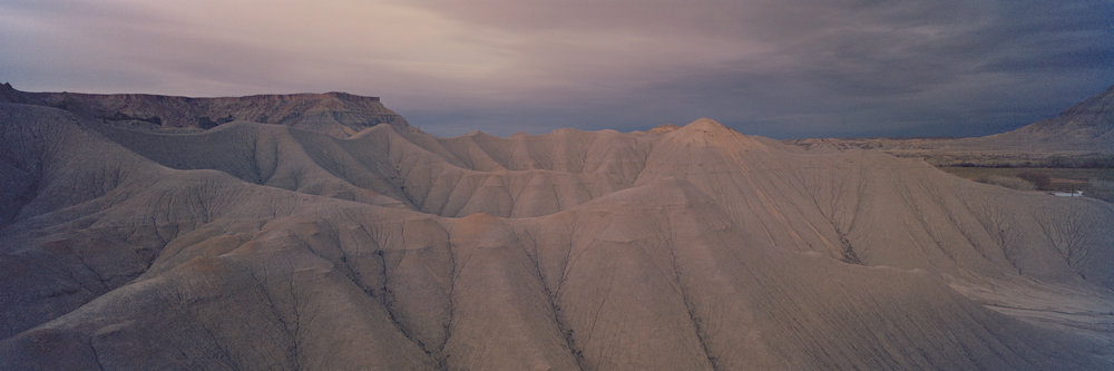 Caineville Badlands at dusk. Ektar 100, 2 sec, f/22.