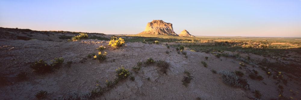 Pawnee Buttes at sunset. Velvia 50, 1/2 sec, f/28.