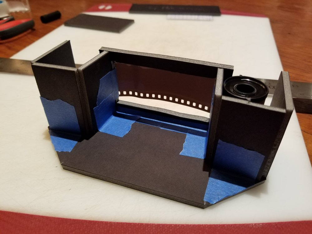 The very first version of the camera, cobbled together late at night out of foam-core.