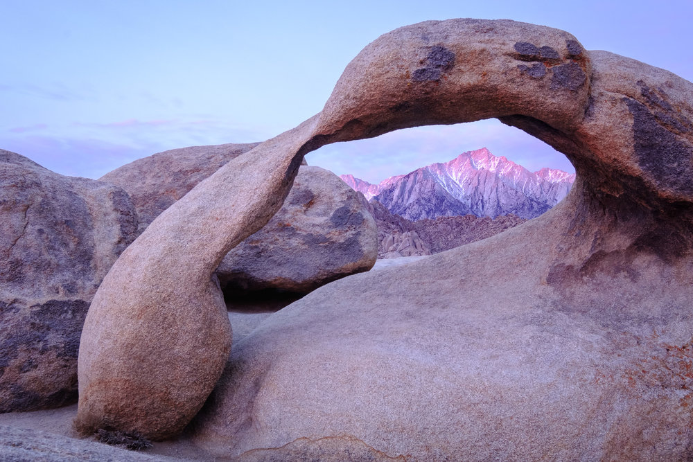 Lone Pine peak at sunrise, seen through the Mobius Arch