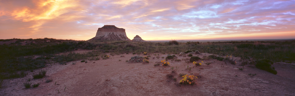 Pawnee Buttes at sunrise. Ektar 100, 2 sec, f/32.