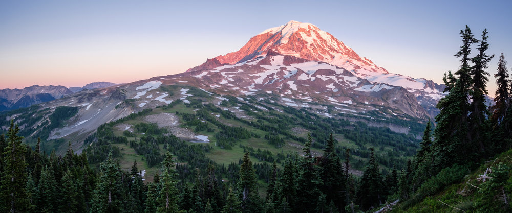 Rainier at sunset above Spray park, from the summit of Mount Pleasant