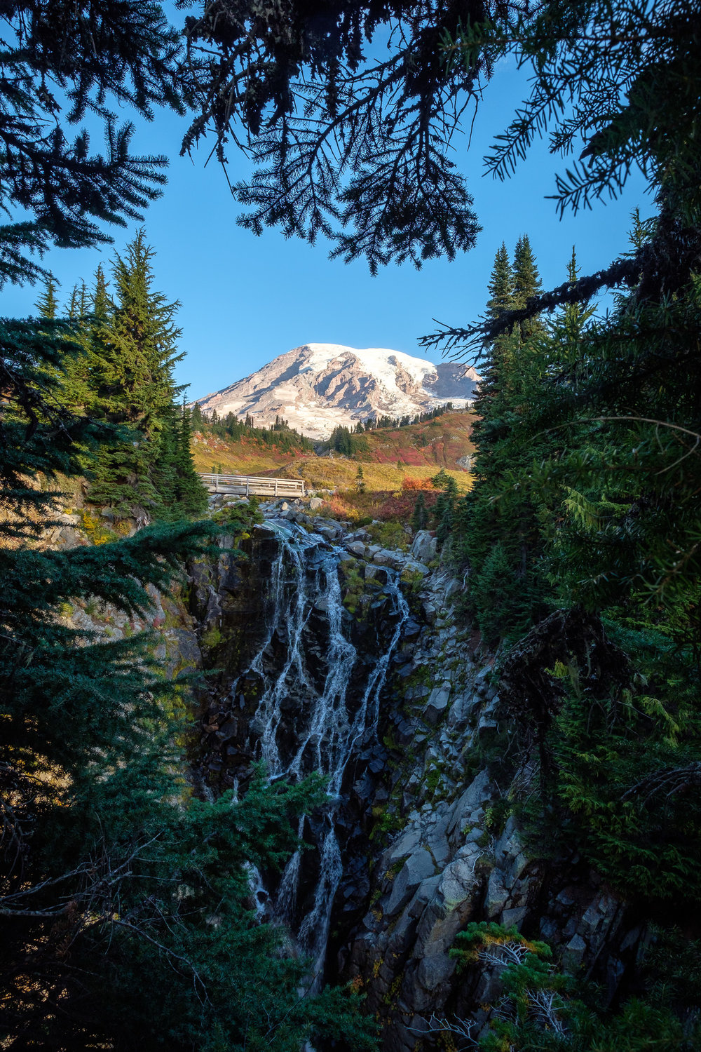 Myrtle Falls and Mount Rainier in October