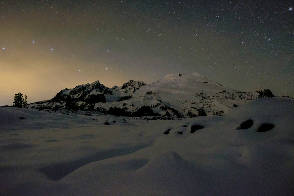 Stars above the south slopes of Mount Baker