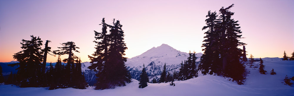 Mount Baker at sunset from Artist's Point, taken on film. Ektar 100, f/19, 1 sec.
