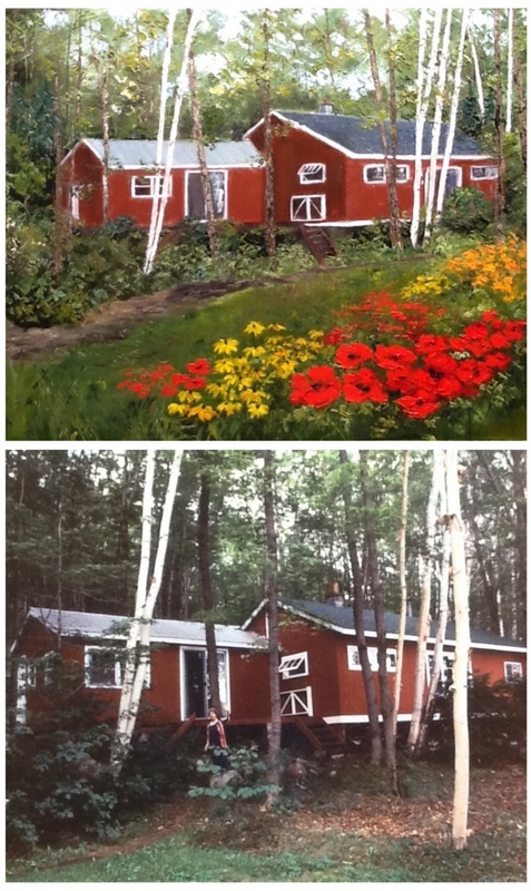 "Angie's commission of a cottage built by the family's grandfather. Finished original oil is on top with lots of added poppies and wild flowers, which the client gave Angie full permission for by explaining - ""just Angie Strauss it!"""
