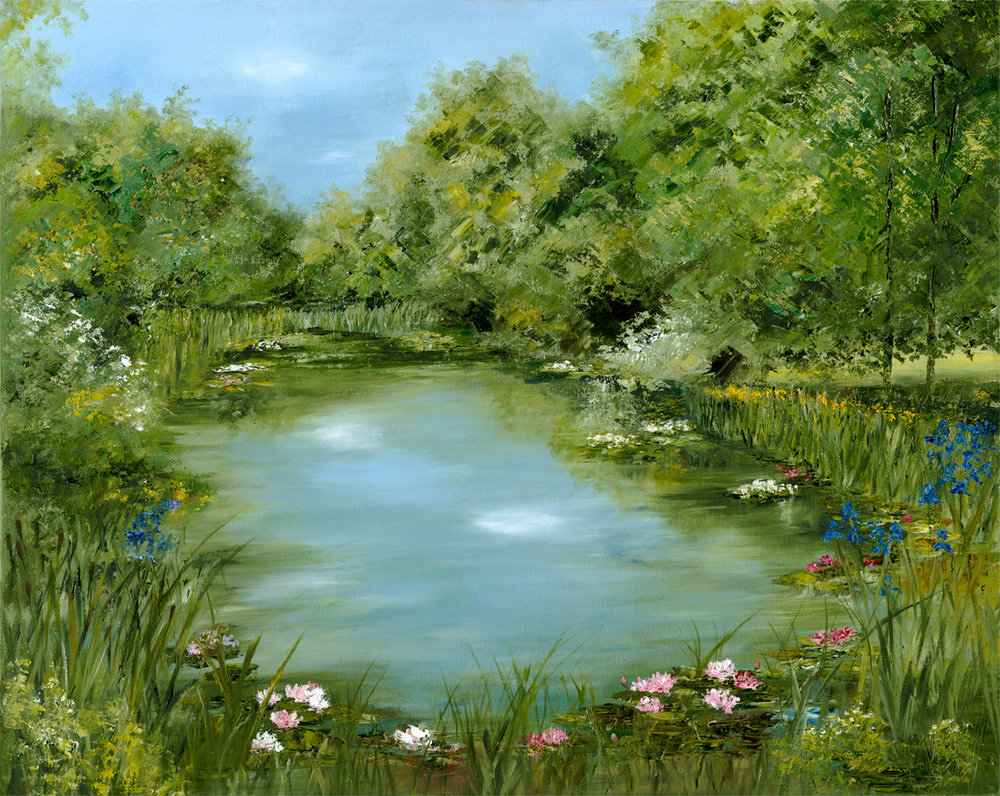 Commissioned original oil 'Serenity' painted from a photograph of the couples' pond