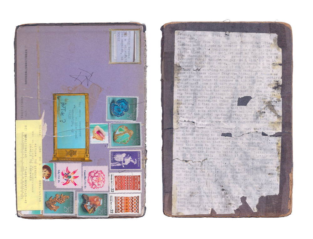 """""""Mail art to A.S. postmarked Dec. 22, 2018"""" [exterior]  16cm x 24cm  Discarded book cover, stamps, rice paper, typewriter ink."""