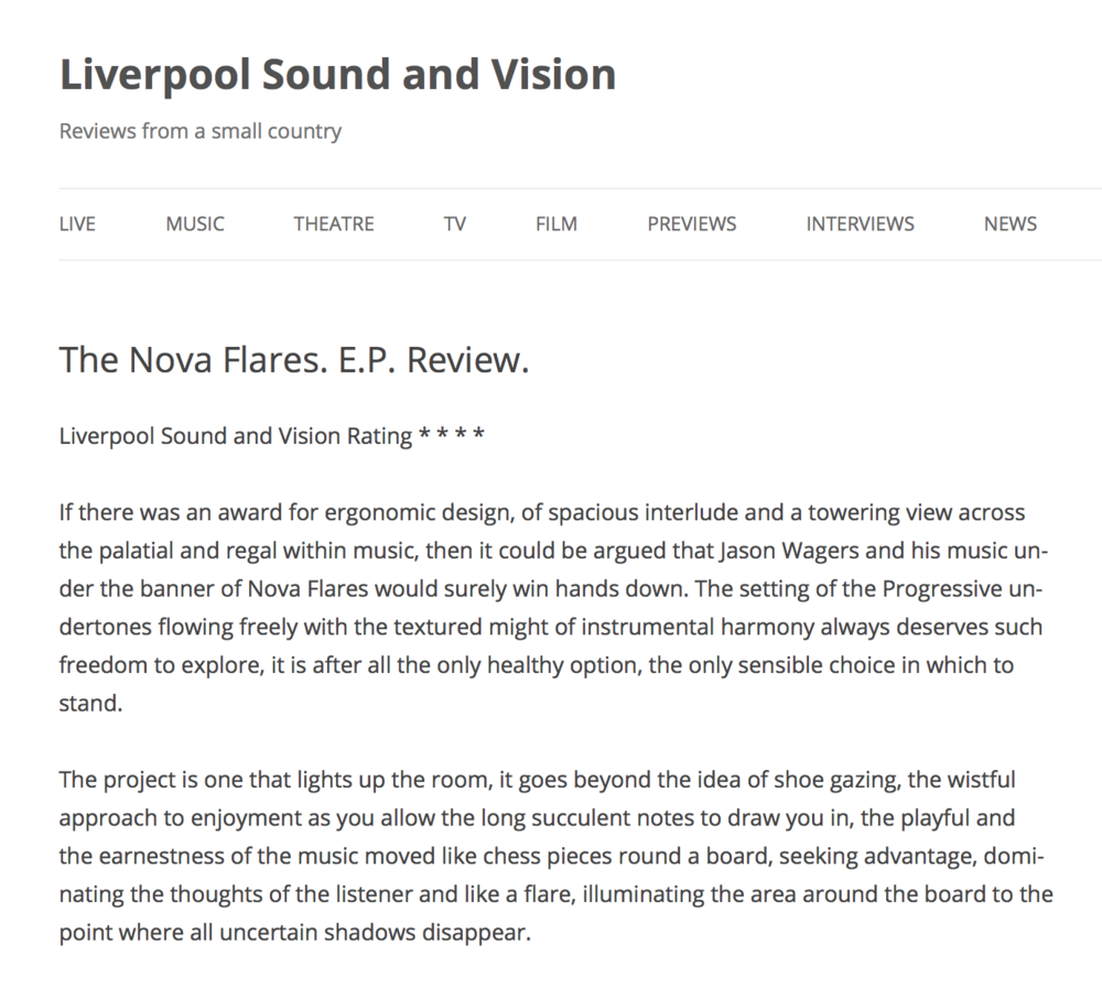Liverpool Sound And Vision : Nova Flares // EP Review