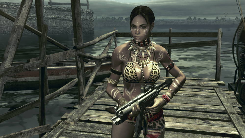 "via wikia.net  Sheva: main character from  Resident Evil V  as represented in one of her DLC ""costumes."" While her main outfit is not as exposing of her body, the adaptation of her ""costumes"" to develop her character further away from a practical standpoint to one of exploitation. It is important to note that her sexuality is further dependent on the Africana statement of her clothing, to designate her as a black woman."