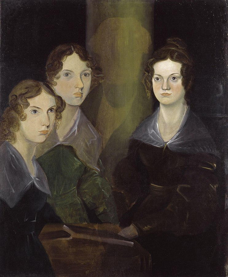 Painting of Anne, Emily, and Charlotte Brontë (left to right). Painted by Branwell Brontë, he initially painted himself into the picture but later painted over himself (1834).