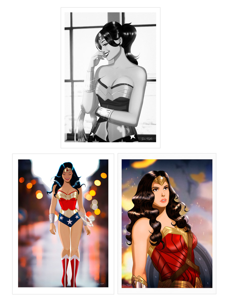OFFICIAL DC LICENSED FINE ART PRINTS     IN EARLY 2017 THESE 3 STUNNING OFFICIALLY LICENSED WONDER WOMAN FINE ART PRINTS SOLD OUT WITHIN HOURS AT BOTTLENECK GALLERY,NYC. DES TAYLOR'S COMIC BOOK ART IS HIGHLY SOUGHT AFTER BY COLLECTORS AND COMIC FANS THE WORLD OVER.
