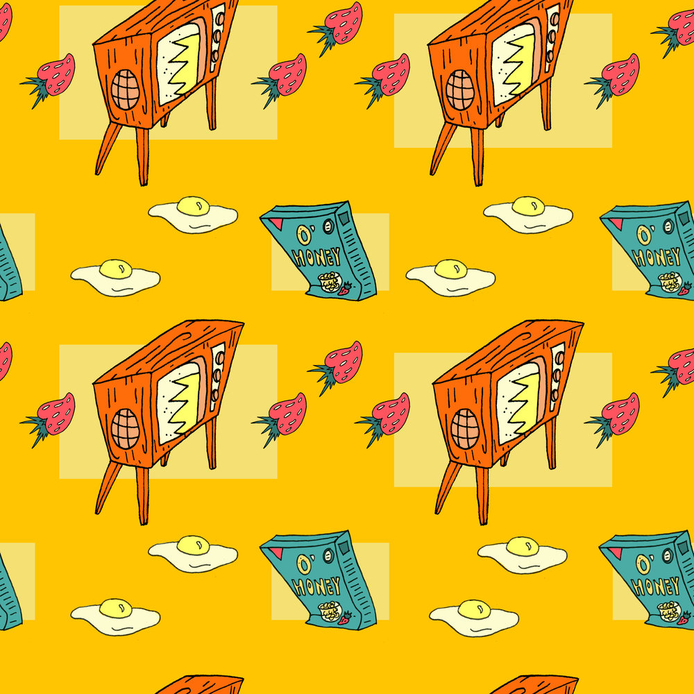 Saturday  Morning Cartoons Part ll   Repeating Pattern (ink and digital coloring)