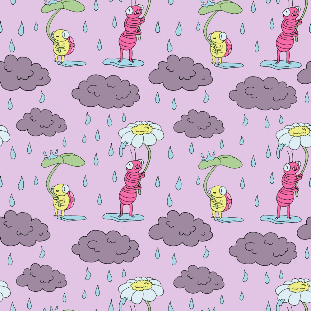 Rain Bugs   Repeating Pattern (ink and digital coloring)