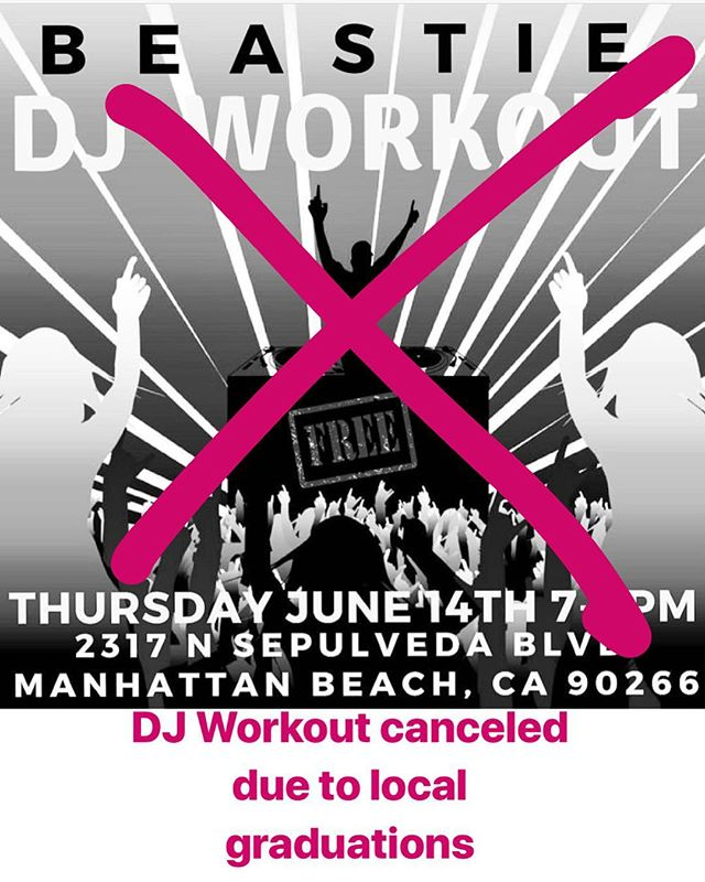 Beastie DJ workout being re-scheduled! We will let everyone know next date!