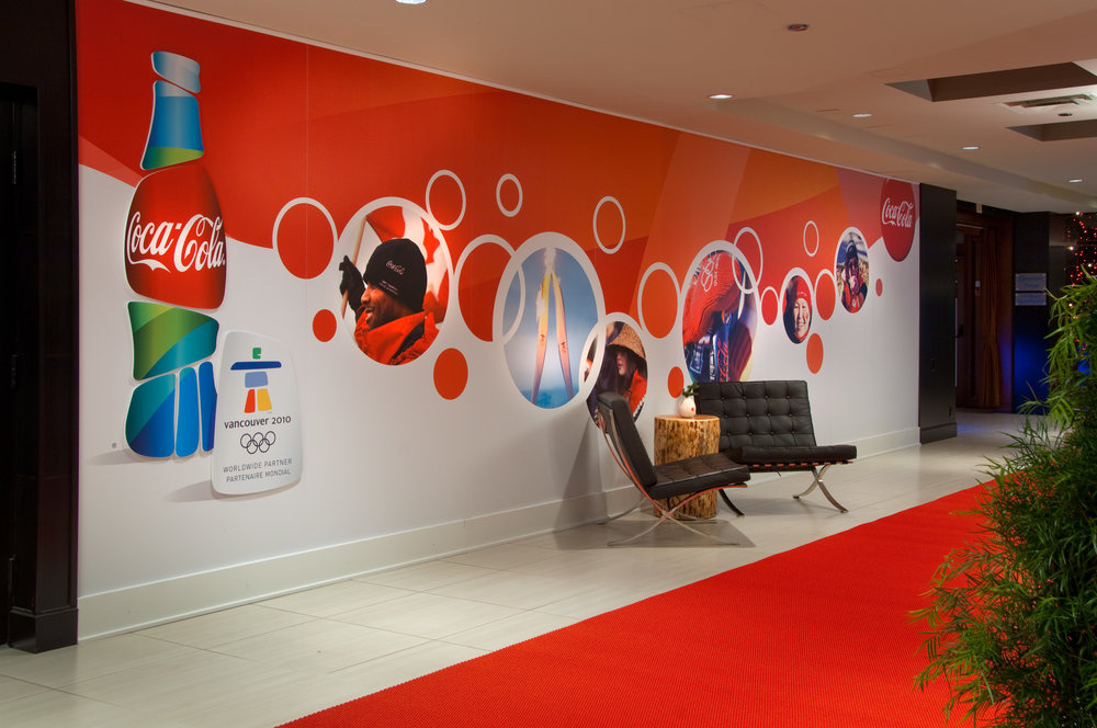 Wall graphics, floor graphics, window graphics, structural wraps, posters, banners
