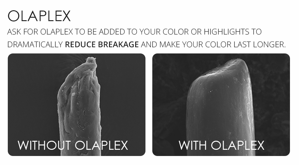 Olaplex.... - It's a little oil that we pop into your colour it includes a patented active ingredient that works on a molecular level to seek out broken bonds.