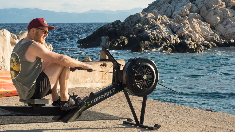 Rowing by the sea