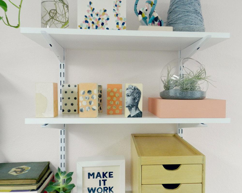 seek and be studio shelves