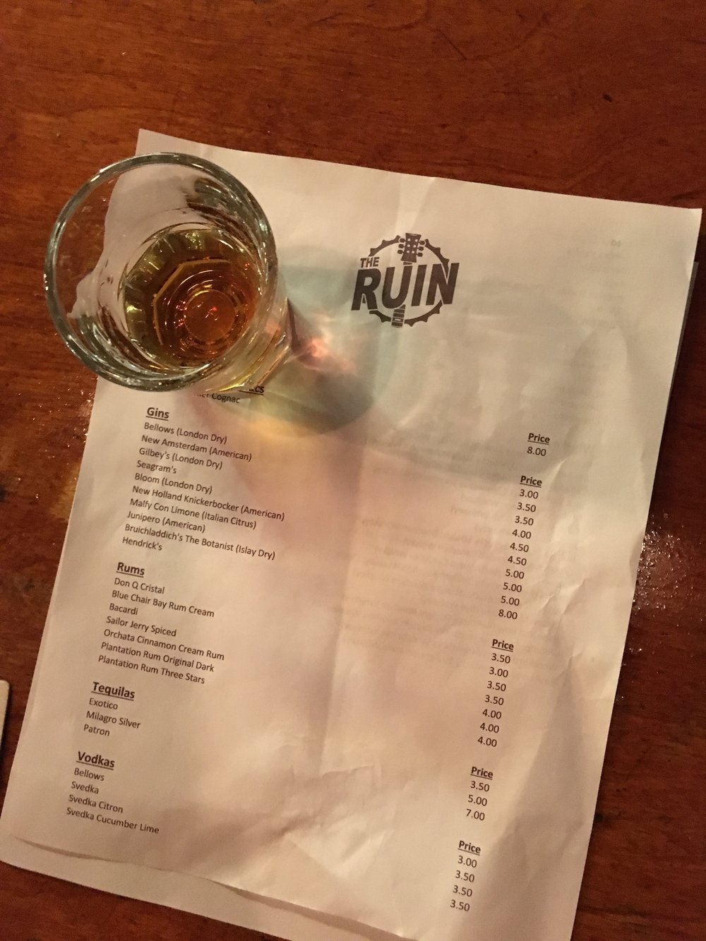 The Ruin Drink Menu
