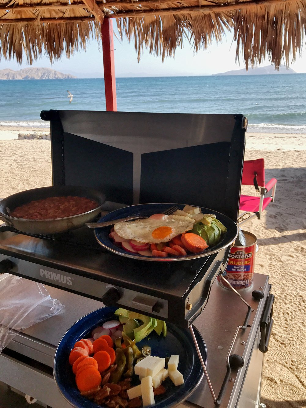 Our standard breakfast- fresh carrots, radishes, cheese, jalapeños, avocado, beans, and a couple eggs on top. Fuel to get through the grueling days at Bay of LA.