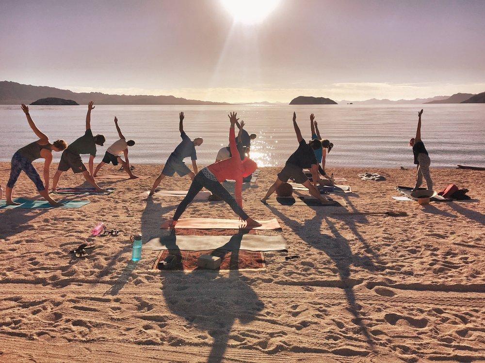 Impromptu yoga classes at Playa Escondida, Bahia Concepcion.