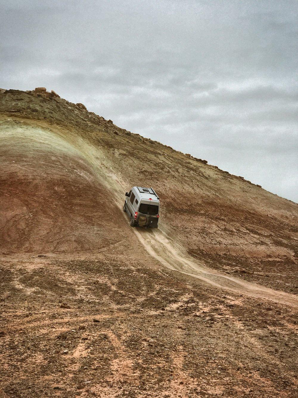Practicing a failed hill climb.