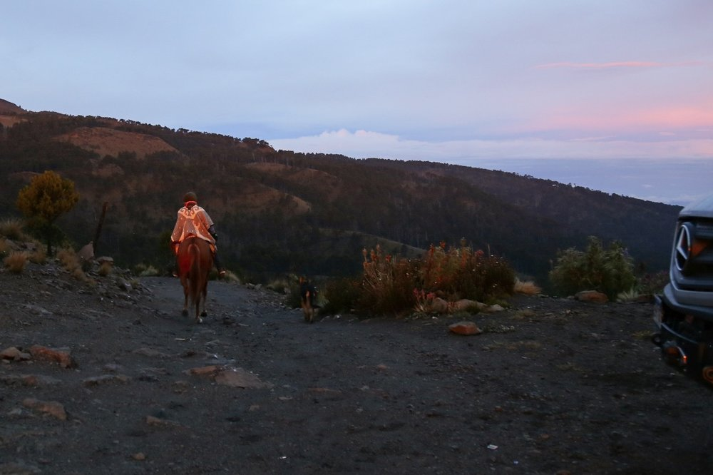 A lone horseback rider came up and over the pass at 0600. He was every bit the mountain man, dressed in all wool and leather and gritty as hell.